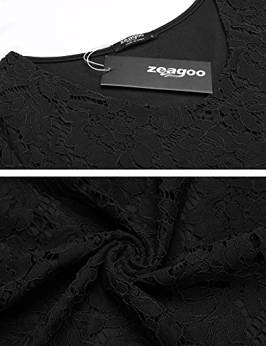 Zeagoo Damen Shirt Bluse V-Ausschnitt Patchwork Spitze Floral T-shirt Slim Langarm Casual Tops Schwarz