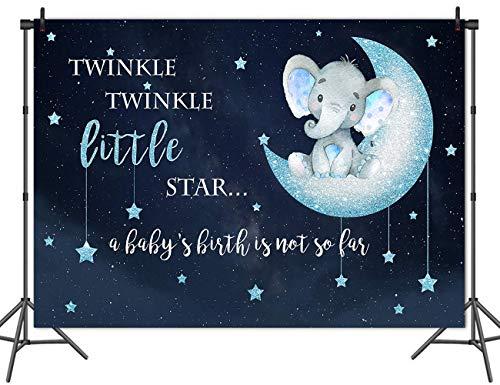 Jiaxingo Elefanten Hintergrund Twinkle Little Star Baby Shower Fotografie Hintergrund Vinyl Blue Elephant Baby Shower Party Kulissen - 220 x 150 cm