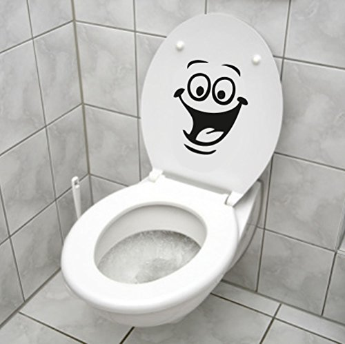 Indiashopers INS-1933 Smiley Face Wc Toilet Decal Sticker (Black)