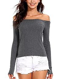 ISASSY Women's Off Shoulder Long Sleeve Tank Crop Vest Cami Tank Tops T-shirt Blouse Jumper
