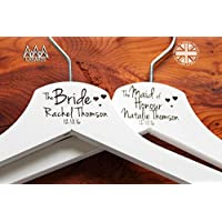 10 Personalised Hearts Bridesmaid Wedding Hanger in White - Hanger Engraved Wedding Gift Bride, Bridesmaids and more.