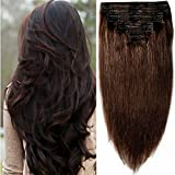 40cm-55cm Clip in Extensions Set 100% Remy Echthaar 8 Teilig 130g-160g Haarverlängerung dick Dopplet Tressen Clip-In Hair Extension (40cm-130g, Nr.2 dunkelbraun)
