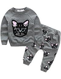 weiyun Cute Baby Kids Set Autumn Winter Clothes Long Sleeve Cats Print  Tracksuit +Pants Outfits… b06ba06363b6