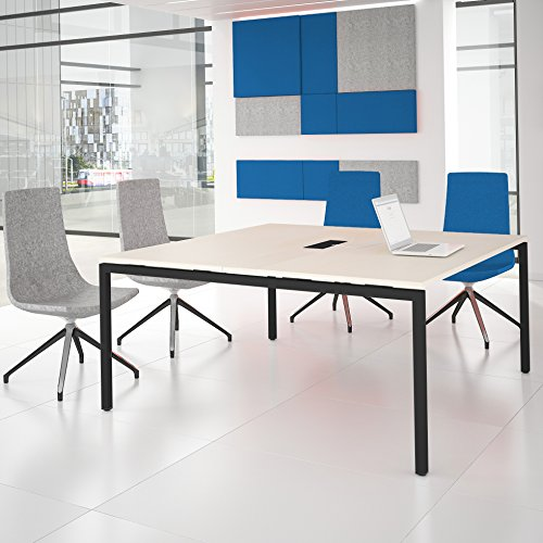 NOVA Konferenztisch 160x164cm Ahorn mit ELEKTRIFIZIERUNG Besprechungstisch Tisch, Gestellfarbe:Anthrazit