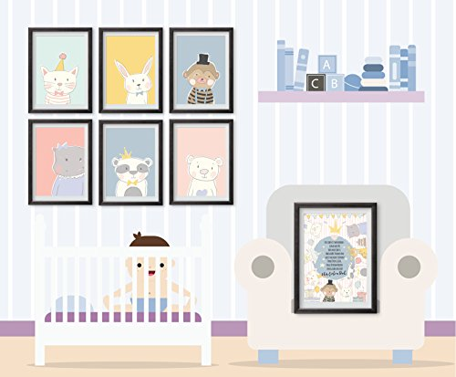 Willkommen Baby-Poster Set - Poster und Kinderzimmer-Dekoration für das Neugeborene mit süßen...