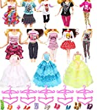 "Hey~Yo Doll Clothes for Barbie,11"" Doll Accessories 33 Pcs-Included 3 Pcs Wedding Party Dress+10 Set Fashion Casual Wear Clothes+10pcs Hanger+10 Pairs of Shoes Xmas Gifts"