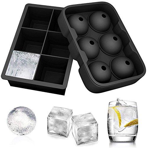 Ecoki Jumbo Eiswürfelformen, Silikon XXL Eiswürfelform, Silikon Eiskugelform - Ohne BPA, Big Size Ice Ball, für Kinder Pudding Milch Saft, für Erwachsene Bier Cocktails Whisky