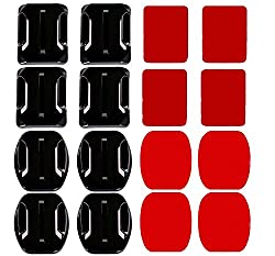 Cammate 4x Curved Mounts & 4x Flat Mounts With Adhesive Pads For Gopro Session 5hero 5432hdsj4000sj5000sj6000 Xiaomi Yi Action Camera Helmet Mounts