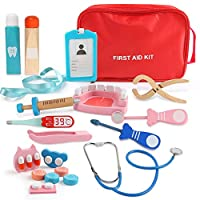 BeebeeRun Doctors Kit for Children Kids,19 pieces Wooden Doctor Toys Set,Doctor Play Set for Kids,Toy Medical Carrycase,Dentist Medical Kit ,Role Pretend Play Toys for 4 Year Olds Boys Girls+