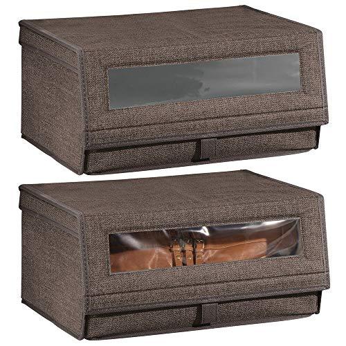 Mdesign set da 2 scatole porta scarpe in tessuto sintetico (grande) - scatole per scarpe impilabili con finestra trasparente, velcro e coperchio - pratico organizer per armadio - marrone scuro