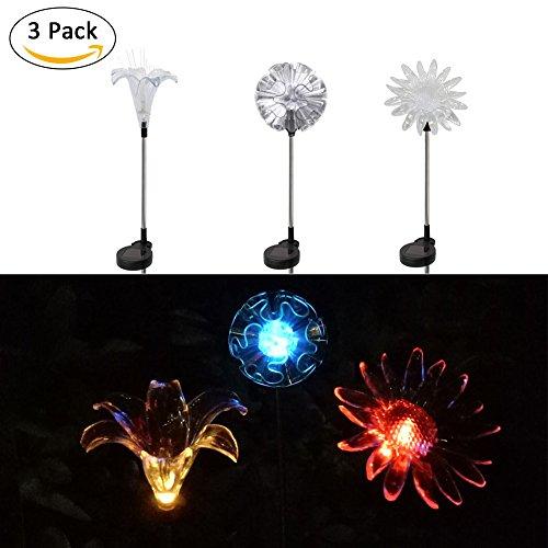 Bloomma Blume Rasen Lichter, Set von 3LED Farbwechsel Solar dem Spiel Lichter für Balkon, Pfad, Weg, Rasen, Beet, Garten Decor Lichter, A