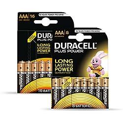Duracell Plus - Pilas AAA (Paquete de 16 + 8 gratis)
