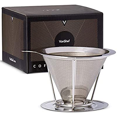 VonShef Pour Over Coffee Dripper with Stand – Stainless Steel – Funnel & Ultra-fine Mesh – Coffee Maker