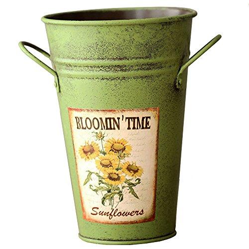 VANCORE estilo rústico Mini cubo diseño Metal jarrón para flores decorativas