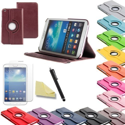 3in1 SET Tab3 8.0 360° Schutzhülle + Folie + Pen Samsung Galaxy Tab 3 8.0 SM-T310 T311 T315 Tasche Etui (Braun)