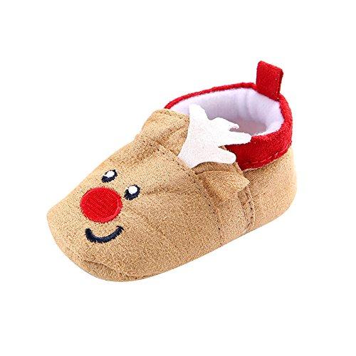 Babyschuhe feiXIANG Schuhe Baby Weihnachts Stiefel weiche Sohle Säuglingsschnee Karikatur Krippe-Schuhe Casual Prewalker Sneakers (Khaki,11)