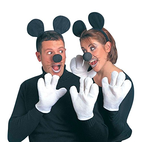 Kostüm Set Mäuse Kostümset schwarz-weiß Micky Maus Outfit Disney Verkleidung Mauskostüm ()