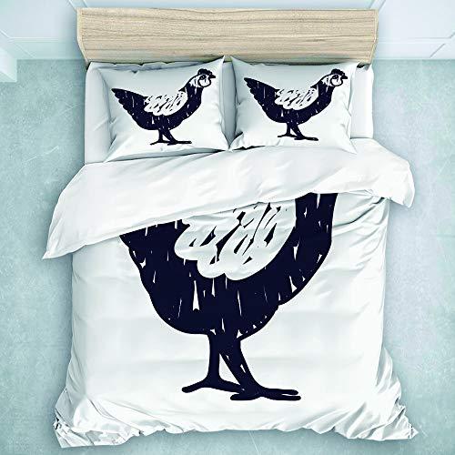 SUHOM Bedding Juego de Funda de Edredón,Agriculture Doodle Chicken Black para Site...