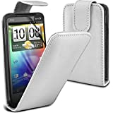 ( White ) HTC Evo 3D Premium Faux Leder Flip Case Hülle & LCD-Display Schutzfolie by Fone-Case