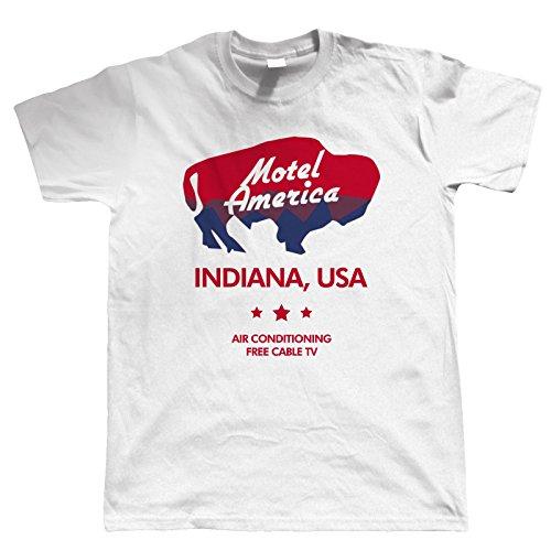 vectorbomb, Motel America, Herren T-Shirt (S zu 5XL) - Weiß, Medium