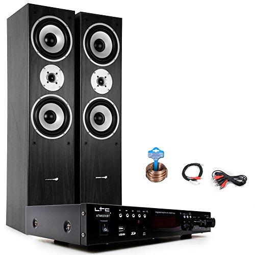 Hifi Musikanlage Bluetooth USB MP3 Verstärker schwarze Hyundai Standboxen HIFI-Premium 15