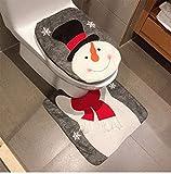 Weihnachtsdekorationen Santa Claus,Schneemann,Hirsch Toilettendeckelbezug und Teppich Badezimmer Set wc sitz mit absenkautomatik Weihnachtsschmuck (Snowman Style 2)