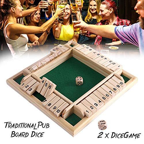2-4 jugadores de madera cierran la caja, juego de dados de tablero de madera clásico Juego de mesa de bar y mesa de dados Juego de juego de mesa para niños Juguetes educativos para la familia
