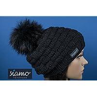 Merino-Mütze LAHTI schwarz mit Kunstfell-Bommel