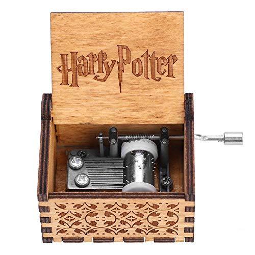 Akozon Caja de Música de Manivela de Madera Regalo de Cumpleaños Mecánico Artesanal Clásico(Harry Potter)