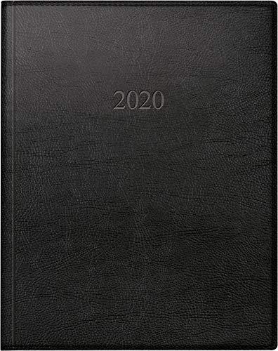 rido/idé 702406490 Buch-/Managerkalender TM (2 Seiten = 1 Woche, 205 x 260 mm, Kunstleder-Einband Prestige, Kalendarium 2020) schwarz