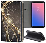 Samsung Galaxy J7 2017 J730 Hülle Premium Smart Einseitig Flipcover Hülle Galaxy J7 2017 Flip Case Handyhülle Samsung J7 2017 Motiv (1200 Kette Abstract Schwarz Gold)