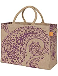 Purple Paisley , Market Tote : KAF Home Jute Market Tote Bag With Purple Paisley Print, Durable Handle, Reinforced...