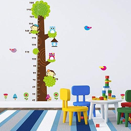 Metro adesivo da parete per registrare l'altezza, a forma di albero con gufi e scimmie, removibile, per misurare la crescita del bambino, decorazione per stanza dei bimbi Owl - 3