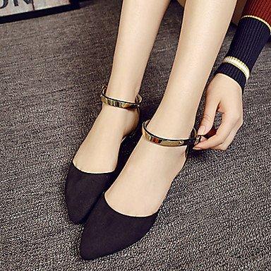Confortevole ed elegante piatto scarpe donna appartamenti rientrano il comfort in camoscio nero Casual mandorla almond