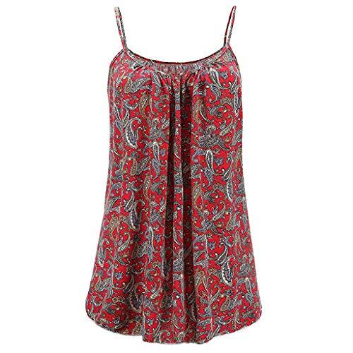 KIMODO Damen Lose ärmellose Tank Top Blumen Drucken Camisole Weste Plus Size T-Shirt Bluse Sommer Oberteile Große Größen -