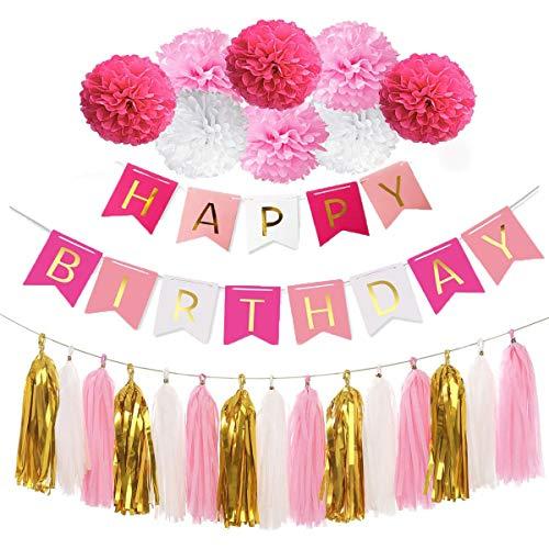 koration Set,Happy Birthday Banner with Tissue Paper Tassels Garland Paper Garland Birthday Decoration Kindergeburtstag deko Weiß Rosa Rot ()