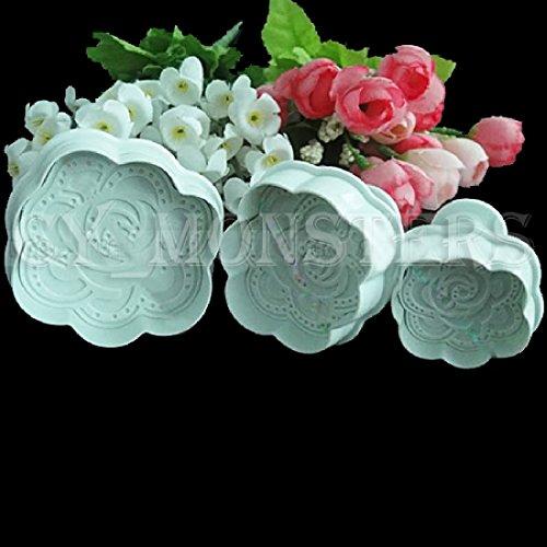 joyliveCY 3Pcs Rosen Gestalten Cookie Cake Sugarcraft Kolben Schneidgeräte Mould Werkzeuge