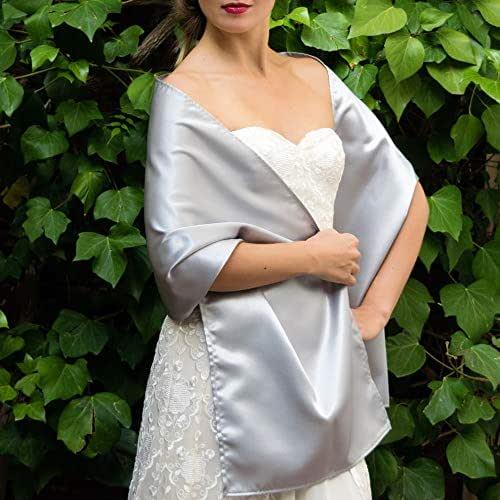 Stole donna satin scialli vestito da sposa nuziale poncho argento grigio