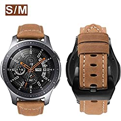 Correa MroTech Galaxy Watch 46mm Cuero Piel Compatible para Samsung Gear S3 Frontier/Classic/Huawei Watch GT/Amazfit Stratos/Pebble Time 22mm Pulsera Banda Reloj de Reemplazo -Correas Khaki