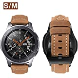 MroTech Correa Piel de Reloj 22mm para Gear S3 Frontier Classic Pulsera de Repuesto para Galaxy Watch 46mm, Pebble Time 22 mm Correa Cuero Genuino Compatible para Huawei Watch 2 Classic GT (Khaki)