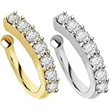 VAMA Fashions White Gold Plated Without Piercing Clip on Pressing Type Stud Nose Ring for Women