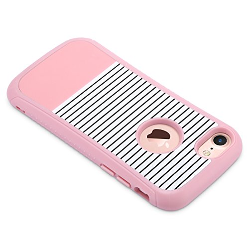 Cover iPhone 7, ULAK iPhone 7 Custodia Cover strati in silicone a shell super protettiva prova di collisione case cover per Apple iPhone 7 (4,7 pollici) Mint Stripes + Grigio Oro Rosa Stripes