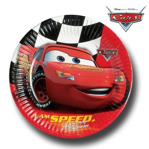 Image of Disney Cars party plates - 8 Disney Cars Party Paper Plates