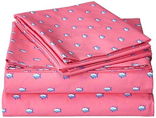 Southern Tide Gedruckt Baumwolle Blatt, Full, echter Bonito Sunset Pink