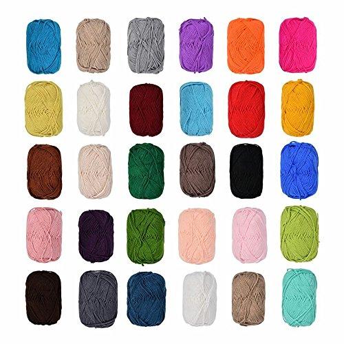 Baumwolle Stricken (12 x 50 Gramm Bunt Wolle Baumwolle im Set,100% Cotton Wolle Stricken Häkeln Weben schwarz,blau,grau, rot ,grün, beige,braun etc Farben NICHT wählbar)