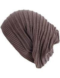 Damen Herren Strickmütze Schal Kombination Long Beanie mit Streifen Wintermütze lange Slouch Mütze One Size