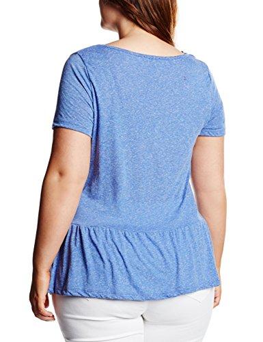 New Look Curves Damen Top Peplum Blau - Blue (Mid Blue)