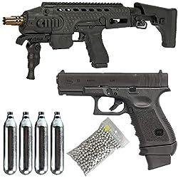 Glock Airsoft- Pack 19 Gen3 Co2/Semi-Automatique/Blowback/métal/Puissance 0.5 Joule/livré avec Accessoires