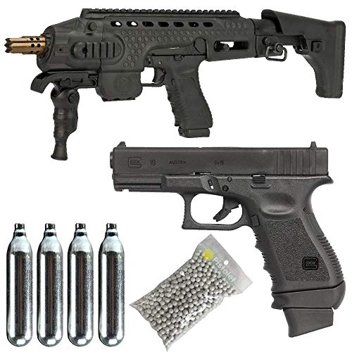 Glock Airsoft-Pack 19 Gen3 Co2 / Semiautomático/Blowback/Metal/Power 1 Joule/entregado con Accesorios