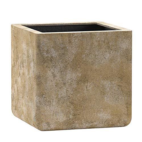 Emsa 800496 Fiberglas Blumenkübel Pflanzenkübel Übertöpfe Cavan Old Stone Brown 27cm